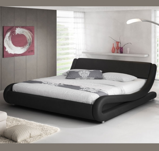 Cama De Matrimonio Alessia En Color Negro 135 X 190 Cm