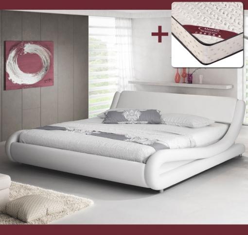 Cama De Matrimonio Alessia Color Blanco 135 X 190 Cm Con Colchón Pro Nature