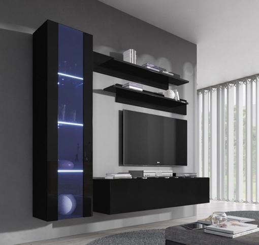 Conjunto Muebles Colgantes De Salón Nora Negro Modelo G2