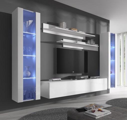 Conjunto Muebles Colgantes De Salón Nora Blanco Modelo B2