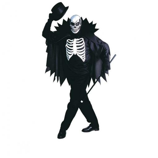 Disfraz Esqueleto Con Capa Para Hombre