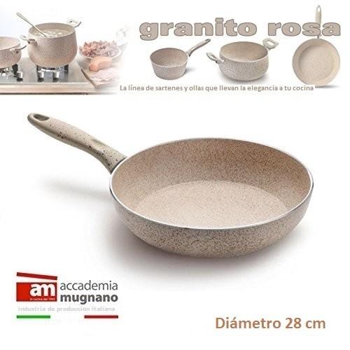 Sartén 28cm Antiadherente De Efecto Piedra Diamond Tech -granito Rosa