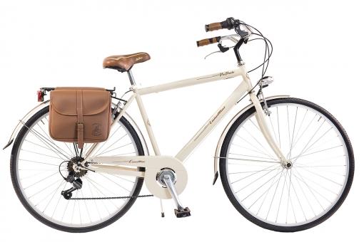 Bicicleta Via Veneto By Canellini Retro Acero + Sacs Lateral Hombre Talla 54 Nata