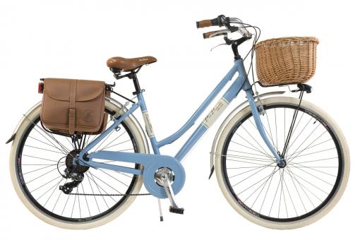 Bicicleta Via Veneto By Canellini Retro Aluminio Mujer Cesto+bolsa Lateral Talla 46 Azul