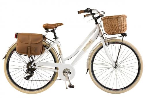 Bicicleta Via Veneto By Canellini Retro Aluminio Mujer Cesto+bolsa Lateral Talla 50 Blanco