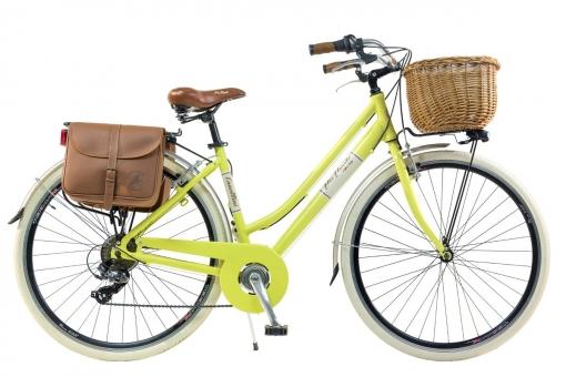 Bicicleta Via Veneto By Canellini Retro Aluminio Mujer Cesto+bolsa Lateral Talla 46 Amarillo