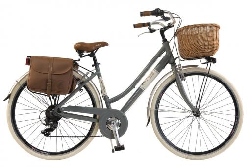 Bicicleta Via Veneto By Canellini Retro Aluminio Mujer Cesto+bolsa Lateral Talla 46 Gris