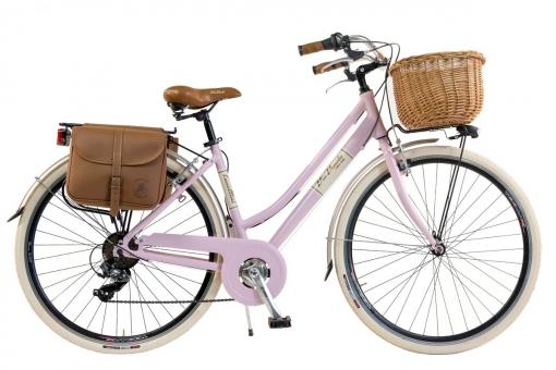 Bicicleta Via Veneto By Canellini Retro Aluminio Mujer Cesto+bolsa Lateral Talla 46 Rosa