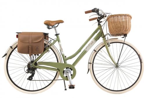 Bicicleta Via Veneto By Canellini Retro Aluminio Mujer Cesto+bolsa Lateral Talla 50 Verde Oliva