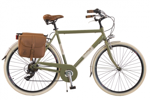 Bicicleta Via Veneto By Canellini Retro Aluminio + Sacs Lateral Hombre Talla 58 Verde Oliva