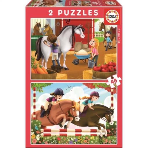 Educa - Caballos Puzzle 2x48 Piezas