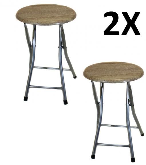 2x Taburete Silla Plegable De Metal Con Madera Cocina Jardín Salón Color  Gris/roble
