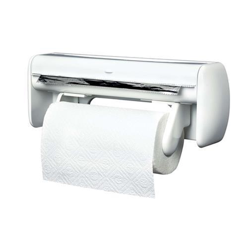 Porta rollos de cocina de pared doble aluminio film papel for Portarrollos cocina carrefour