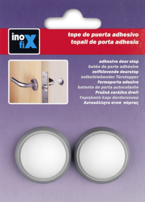 Tope Pared Adh Cromo/bco Bl.2 - Inofix - 2450-7