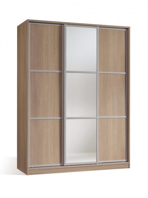 Armario Ropero Dormitorio Color Cambrian Y Espejo 3 Puertas