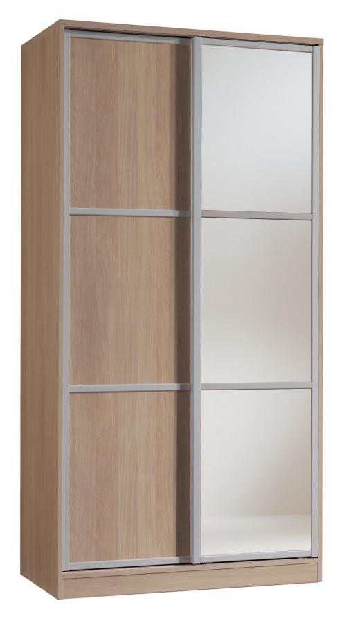 Armario ropero con espejos color cambrian de 2 puertas for Armario puertas correderas 100 cm