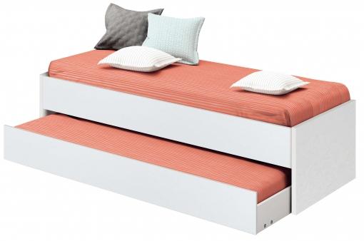 Somier Nido Oferta.Cama Nido De Dormitorio Juvenil Color Blanco Brillo Somier Inferior