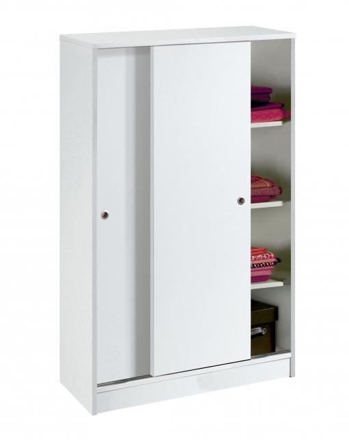 Armario auxiliar zapatero multiusos blanco brillo 2 for Armario puertas correderas 100 cm