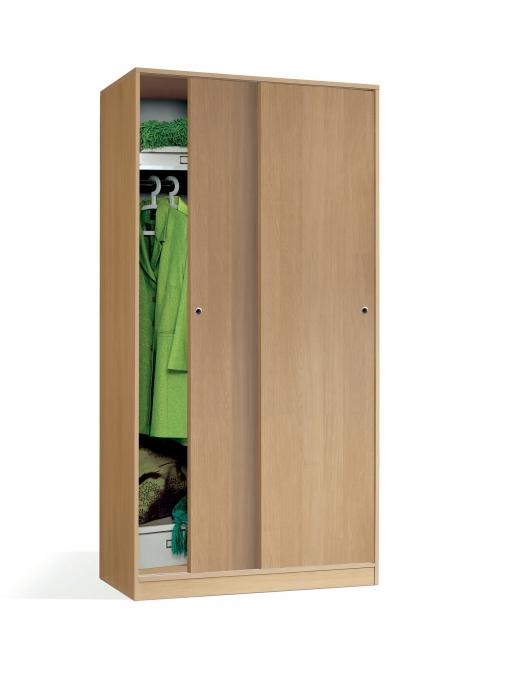 Armario color roble para dormitorio 2 puertas correderas for Armario puertas correderas 100 cm
