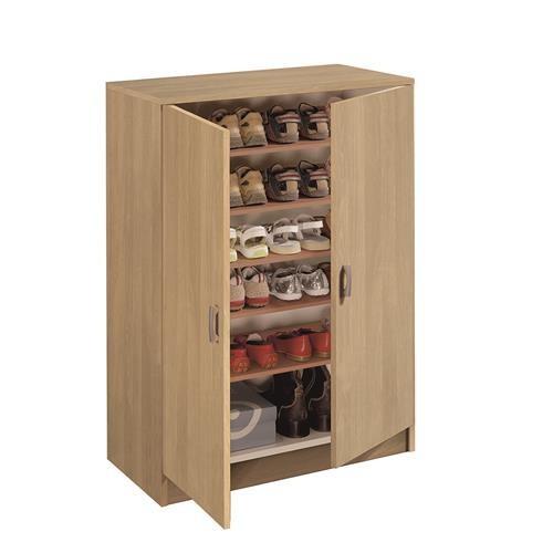 Armario auxiliar zapatero multiusos roble estantes for Armario cocina puertas correderas