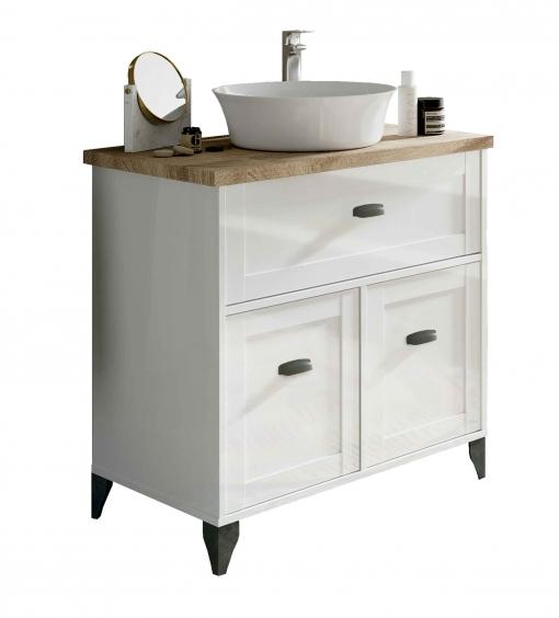 Mueble Baño Vintage Cottage Color Blanco Y Cambrian Con Lavabo Encimera Cerámico 82x47 Sin Espejo Con Ofertas En Carrefour Las Mejores Ofertas De Carrefour