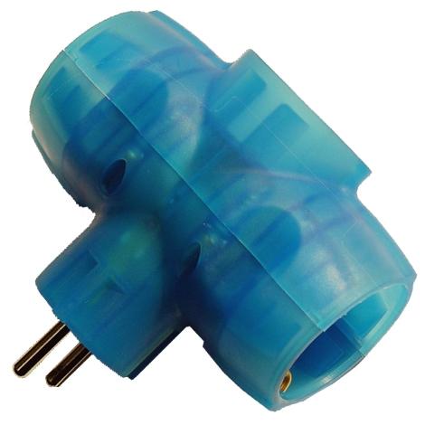 Adaptador Triple 16a Azul