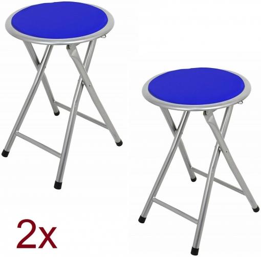 2x Taburete Silla Plegable De Cocina Jardín Camping Salón Metal Asiento  Acolchado Azul