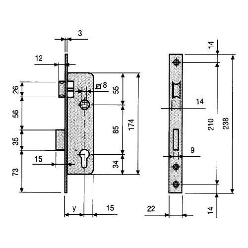 Cerradura Embutir Puerta Metalica 5000 25c