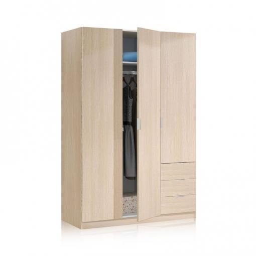 Armario low cost 3 puertas color roble 180x121x52 for Armarios de madera baratos