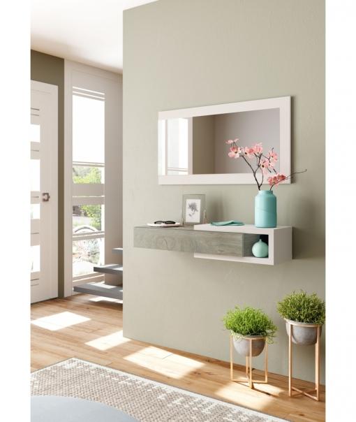Mueble de recibidor con espejo color blanco y madera for Espejo recibidor blanco