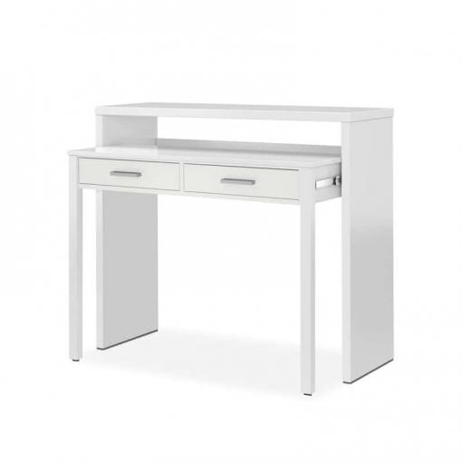 Mesa de escritorio extensible bureau color blanco for Mesa escritorio carrefour