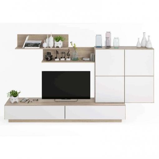 Mueble Salón Comedor Color Roble Canadian Y Blanco Brillo Mueble Modular  157x250x42cm