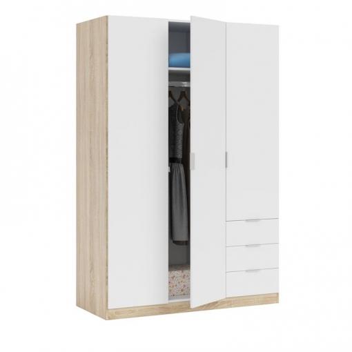 Armario ropero dormitorio 3 puertas 3 cajones color blanco - Armario dormitorio blanco ...