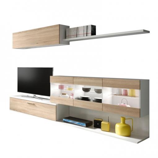 Mueble Tv Salón/comedor En Color Blanco Brillo Y Roble Canadian 260x84x41 Cm