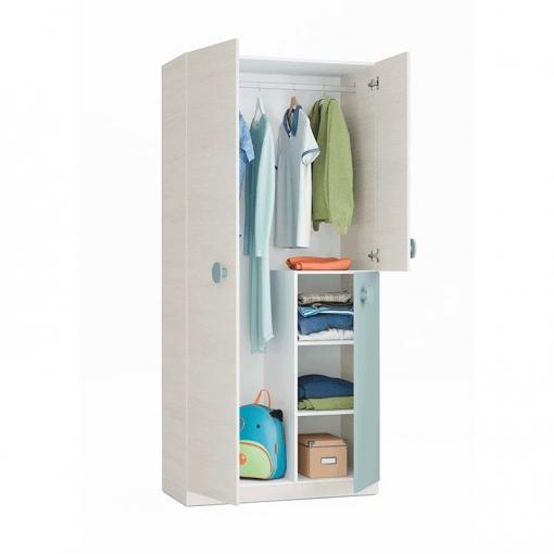 Armario juvenil dormitorio color verde y blanco 3 puertas - Armario dormitorio blanco ...