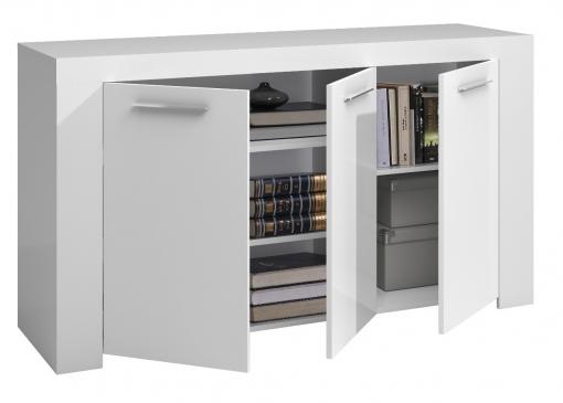Mueble Aparador 3 Puertas Salón Comedor Color Blanco Artik 144x80x42 Cm