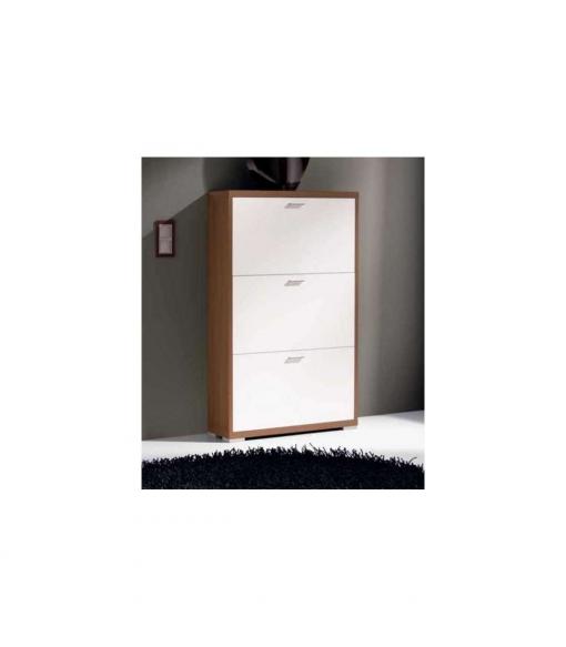 Mueble Zapatero 3 Trampones 3 Colores Combinados Color Nogal Lacados Blanco