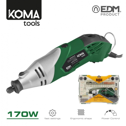 Rotativa 170w Con Accesorios Koma Tools Edm