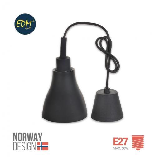 Colgante De Silicona Norway Design E27 60w Negro Edm