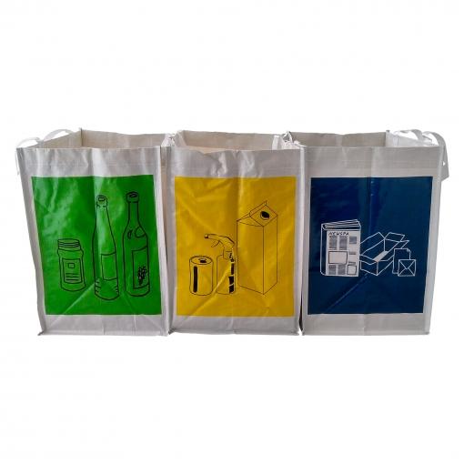 Vidrio y Pl/ástico Asas Ideal para Hogar//Oficina//Interior//Exterior para Papel Separables Sin marca Pack de 3 Bolsas de Reciclaje