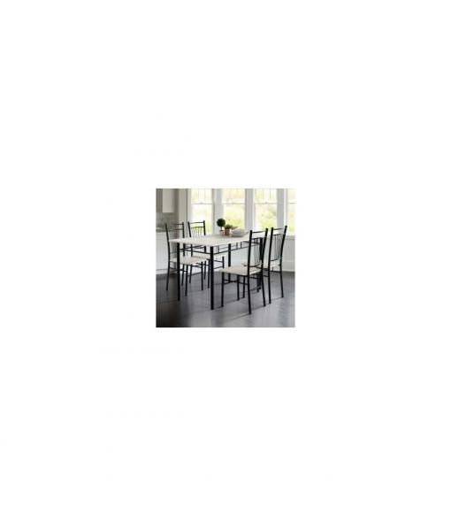 Conjunto Cocina Mesa Y 4 Sillas Negro , Color Cristal - Blanco, Estructura  - Negro