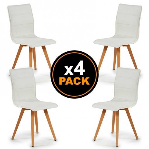 Pack 4 Sillas De Comedor Con Tapizado De Polipiel Y Acolchado Patas De  Acero Con Acabado De Madera. Medidas: 43x51x87,5cm