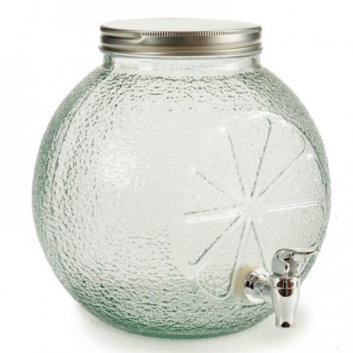 vino utilissimi Tarro dispensador de cristal para bebidas agua aperitivo con grifo 3,2 l