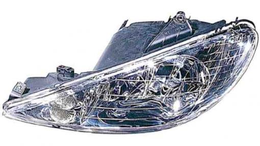 Peugeot  206  (98->09) Derecho-faro Principal-eléctrico-transparente Cristal Liso  Transparent Lens  H7+h7