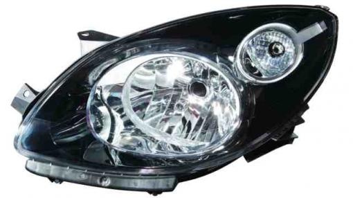 Renault  Twingo  (07->12) Derecho-faro Principal-eléctrico Fondo Negro  Black Mask  H4