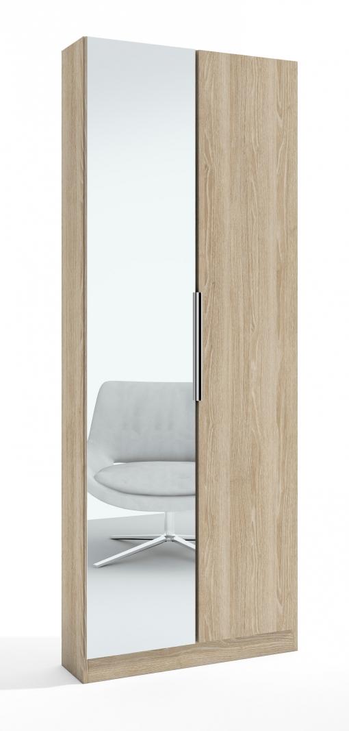 Armario zapatero alto con espejo 2 puertas en color sable efecto madera con baldas y varillas - Zapatero interior armario ...