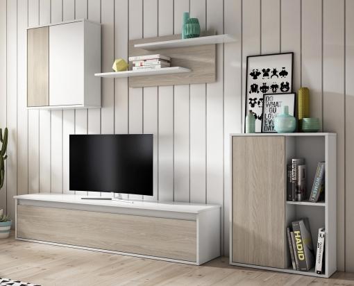 Mueble Módulos Salón Diseño Nórdico Estilo Escandinavo Color Blanco Y Sable 220x180x38 Cm