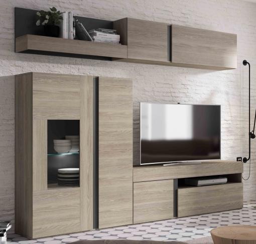 Mueble Salón Comedor Con Led Compuesto De Varios Módulos Color Sable Y  Pizarra 210x250 Cm