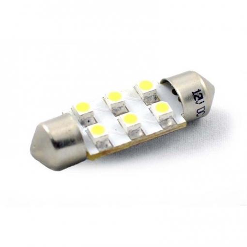 1 Unidad L028b - Lámpara Led L028 - C5w 36mm 6xsmd3528, Azul