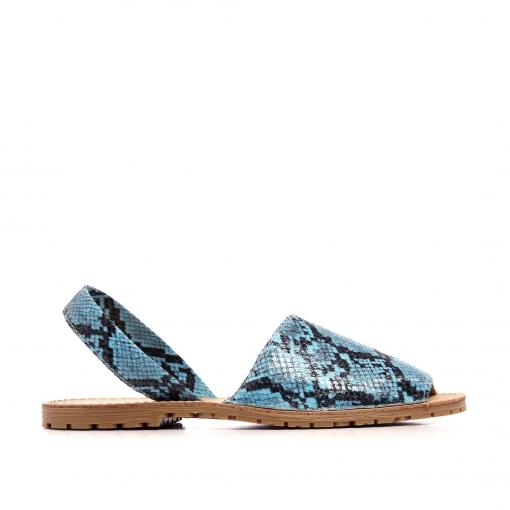 Azul Sandalias Fluor Estilo Menorquinas Confort Serpiente Mujer 7Y6bfvgy